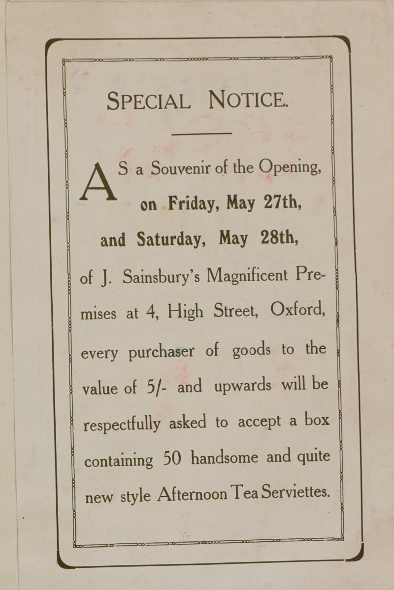 SA/MARK/ADV/1/1/1/1/1/6/1/52 - Notice for gift of serviettes for branch opening at 4 High Street, Oxford [1910]