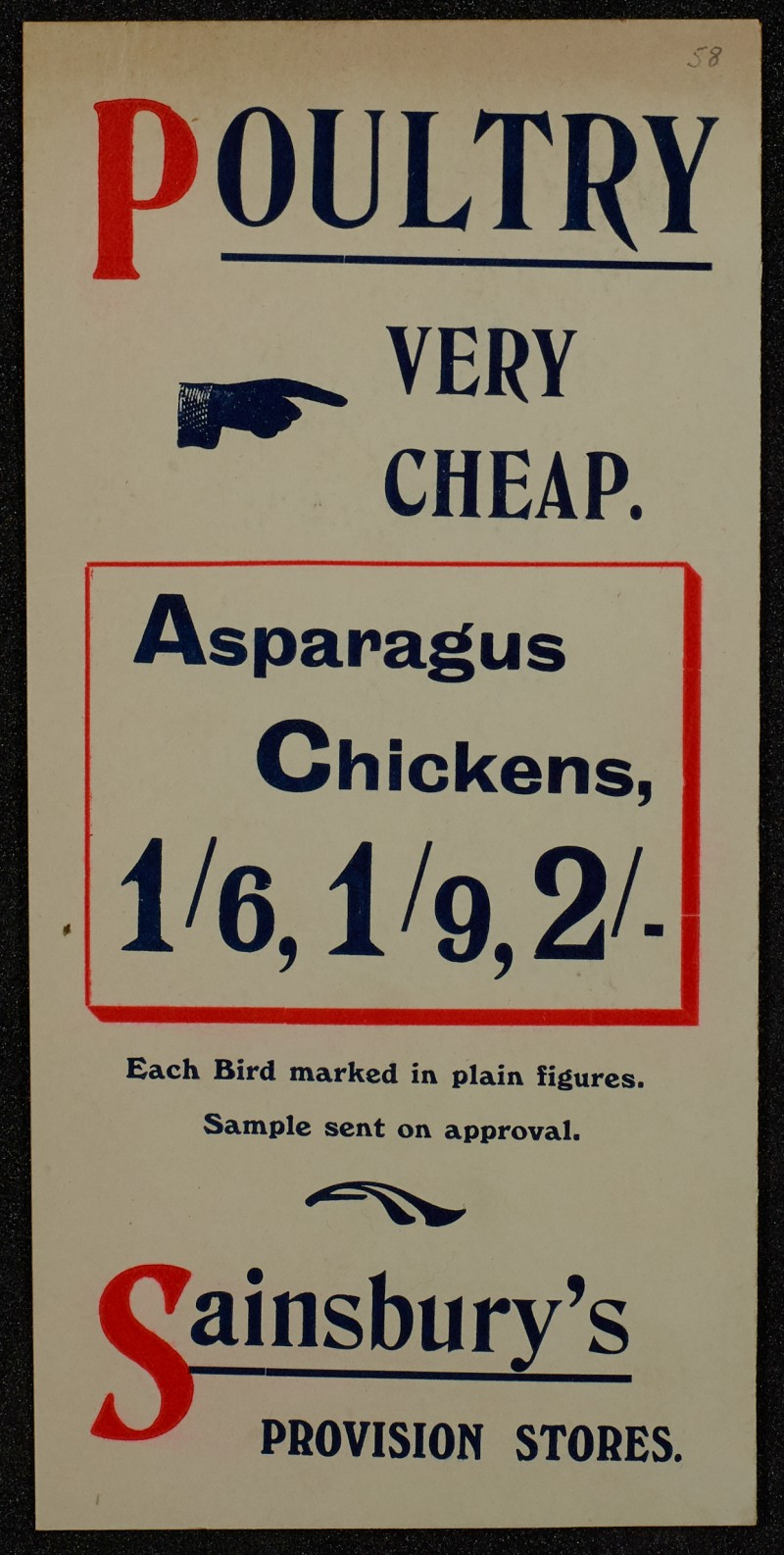 SA/MARK/ADV/1/1/1/1/1/6/1/56 - Advert for poultry, chicken and asparagus [1910]