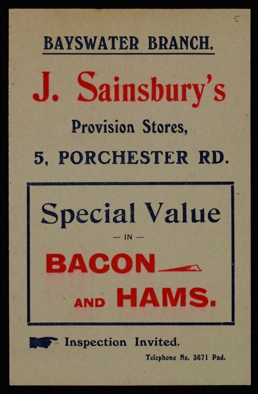 SA/MARK/ADV/1/1/1/1/1/6/1/5 - Bacon and Hams advertisement (Bayswater branch) c.1909
