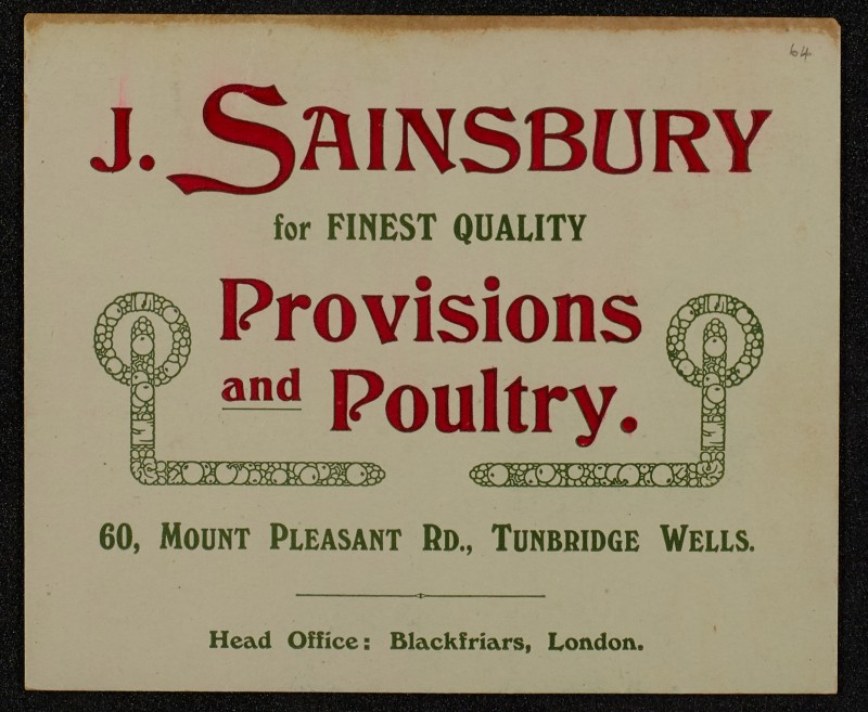 SA/MARK/ADV/1/1/1/1/1/6/1/61 - Postcard advert for provisions and Poultry, displayed in a hotel for a year, 1910