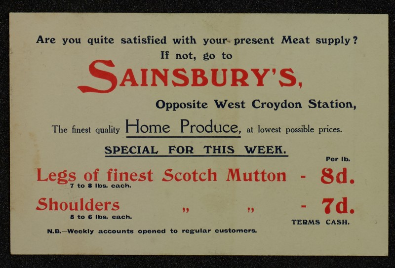 SA/MARK/ADV/1/1/1/1/1/6/1/65 - Card Advert for Scotch Mutton Meat, 1910
