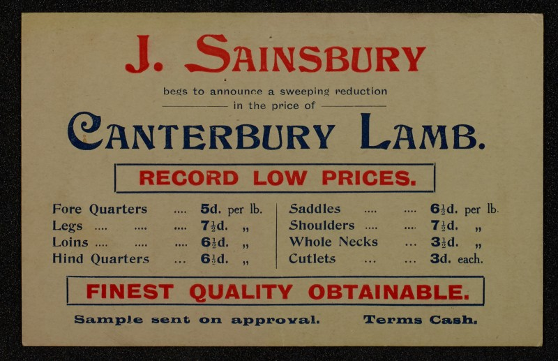 SA/MARK/ADV/1/1/1/1/1/6/1/66 - Postcard advert for Lamb at reduced price, 1910