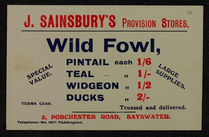 SA/MARK/ADV/1/1/1/1/1/6/1/67 - Card advert for Wild Fowl and Game, 1910