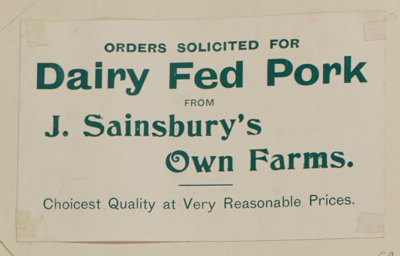 SA/MARK/ADV/1/1/1/1/1/6/1/69 - Paper advert for Dairy fed Pork, 1910