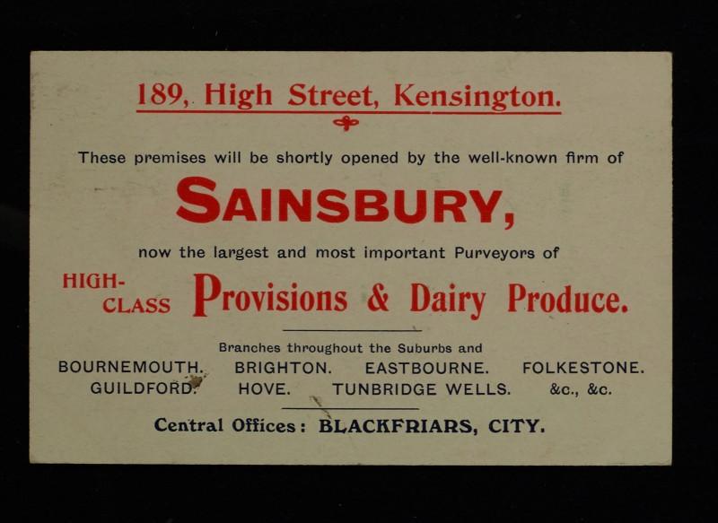SA/MARK/ADV/1/1/1/1/1/6/1/6 - Branch opening advertisement, 189 High Street, Kensington, c.1909