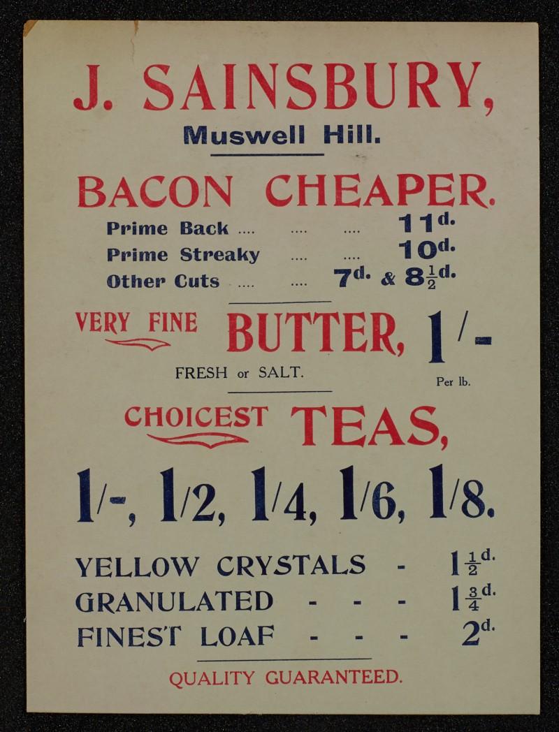 SA/MARK/ADV/1/1/1/1/1/6/1/72 - Card advert for Bacon, Butter and Tea, 1911
