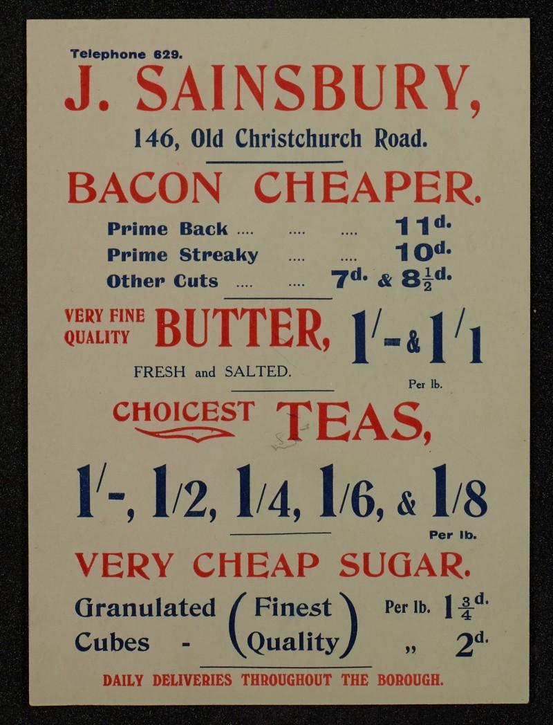 SA/MARK/ADV/1/1/1/1/1/6/1/73 - Card advert for Bacon, Butter and Tea and Sugar, 1911