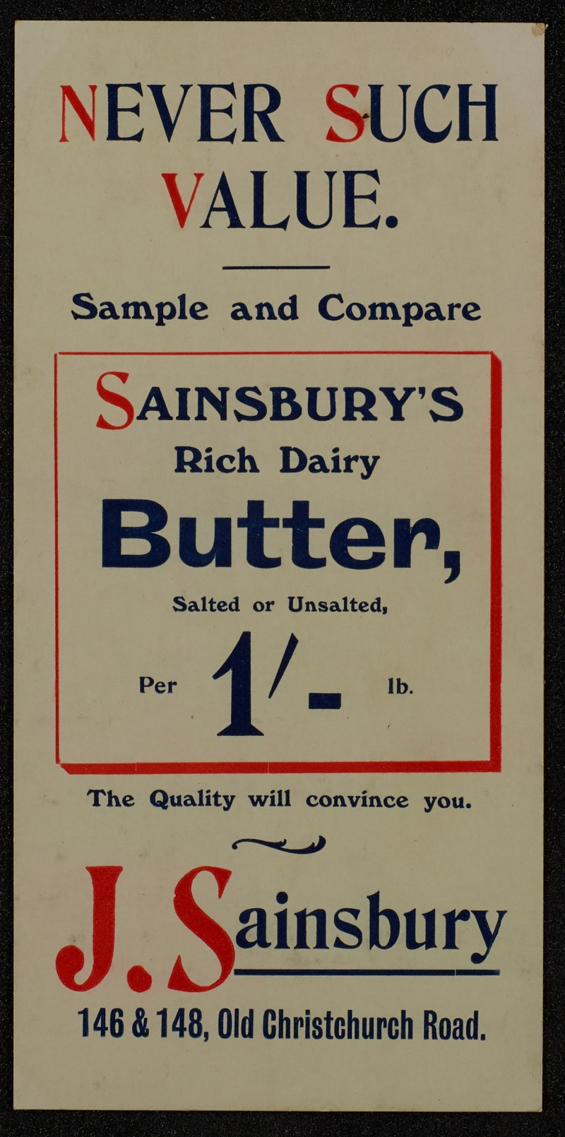 SA/MARK/ADV/1/1/1/1/1/6/1/74 - Card advert for Rich dairy Butter. 1911