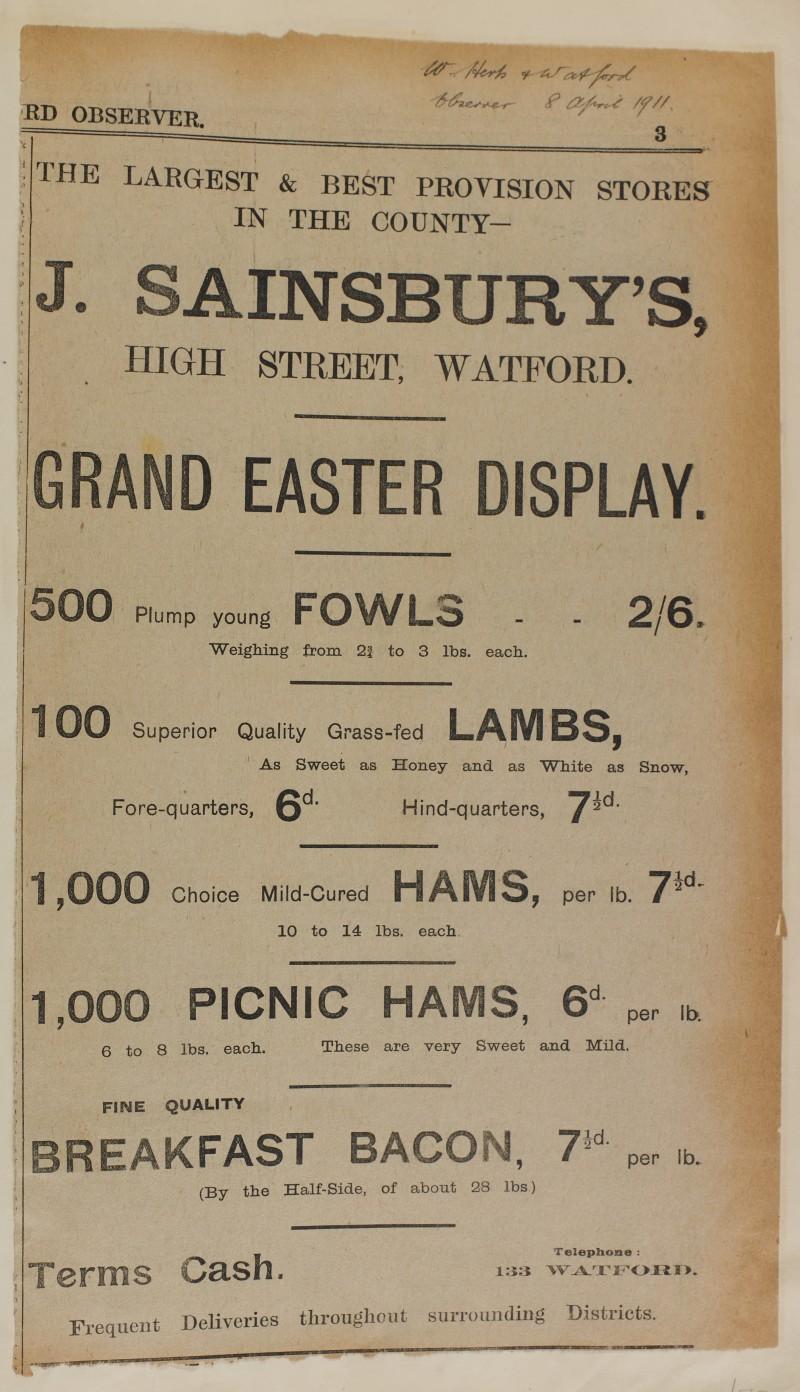 SA/MARK/ADV/1/1/1/1/1/6/1/75 - Newspaper advert for Easter, fowls, Lambs, Hams and Bacon, 1911