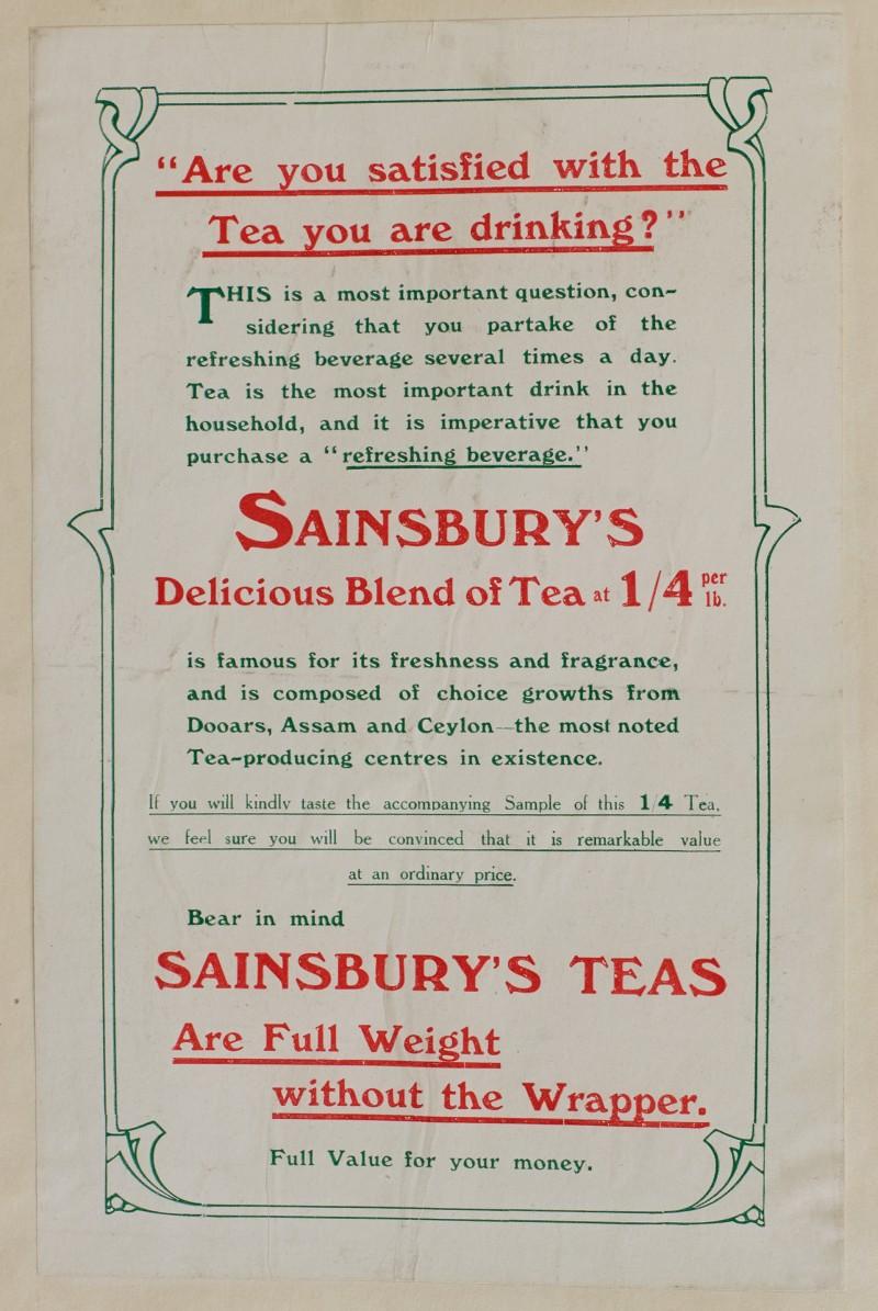 SA/MARK/ADV/1/1/1/1/1/6/1/78 - Paper advert for teas, 1911