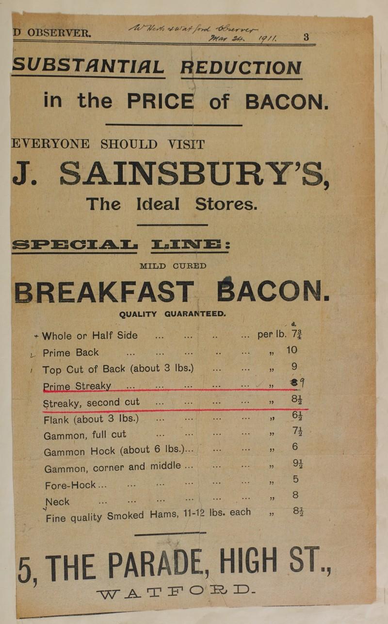 SA/MARK/ADV/1/1/1/1/1/6/1/79 - Newspaper advert for Breakfast bacon, 1911