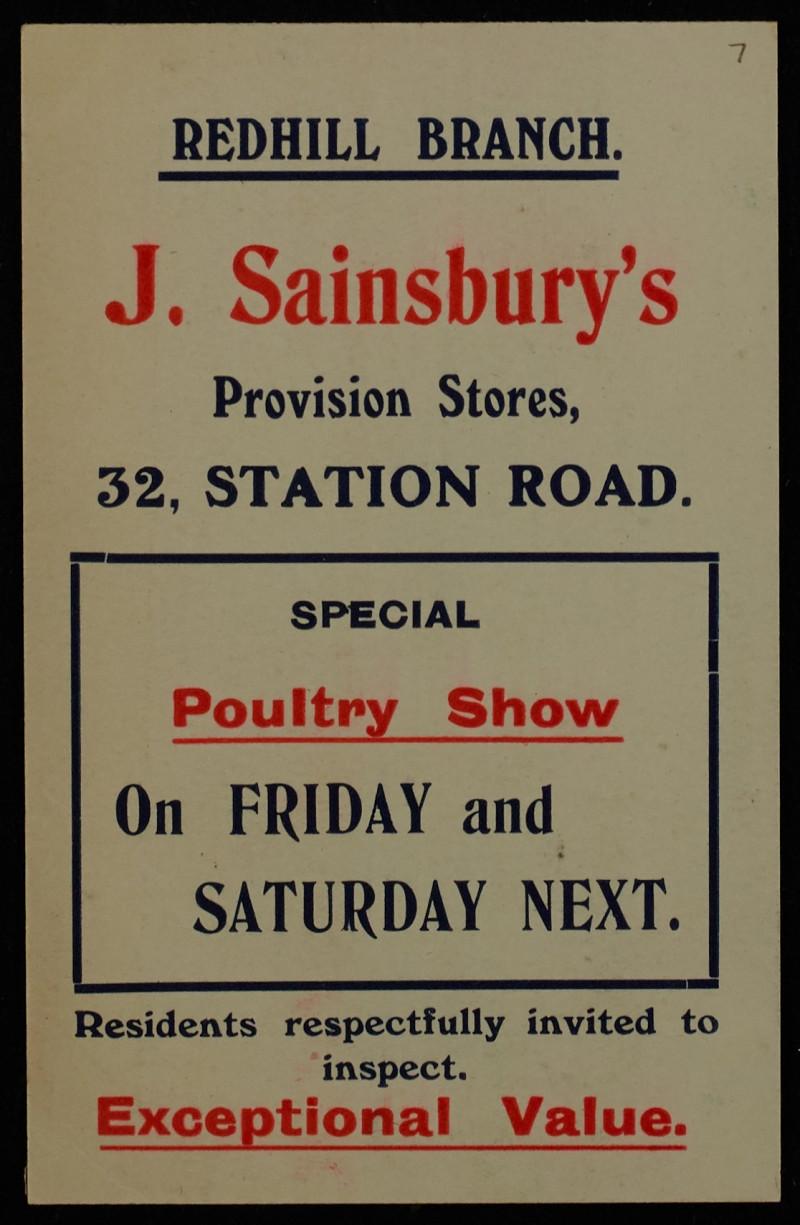 SA/MARK/ADV/1/1/1/1/1/6/1/7 - Poultry Show advertisement c.1909
