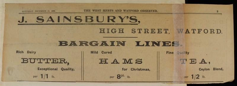 SA/MARK/ADV/1/1/1/1/1/6/1/80 - Newspaper advert for Butter, Hams and tea, 1909