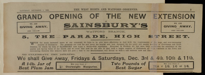 SA/MARK/ADV/1/1/1/1/1/6/1/81 - Newspaper advert for opening of store extension, Watford, 1909
