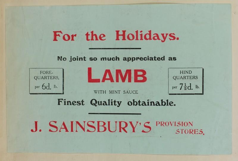SA/MARK/ADV/1/1/1/1/1/6/1/82 - Paper advert for Lamb for the Holidays, 1911
