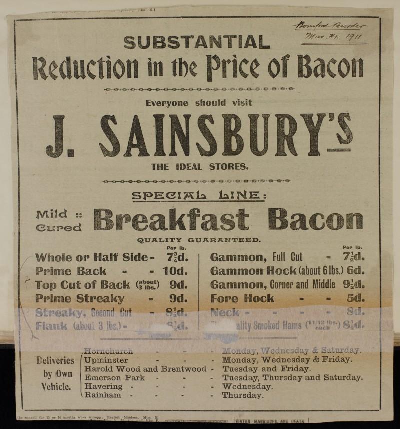 SA/MARK/ADV/1/1/1/1/1/6/1/83 - Newspaper advert for reduced price Bacon, 1911