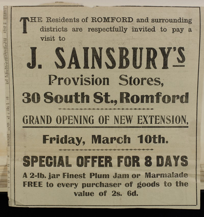 SA/MARK/ADV/1/1/1/1/1/6/1/84 - Newspaper advert for grand opening of Extension, Romford store, 1911
