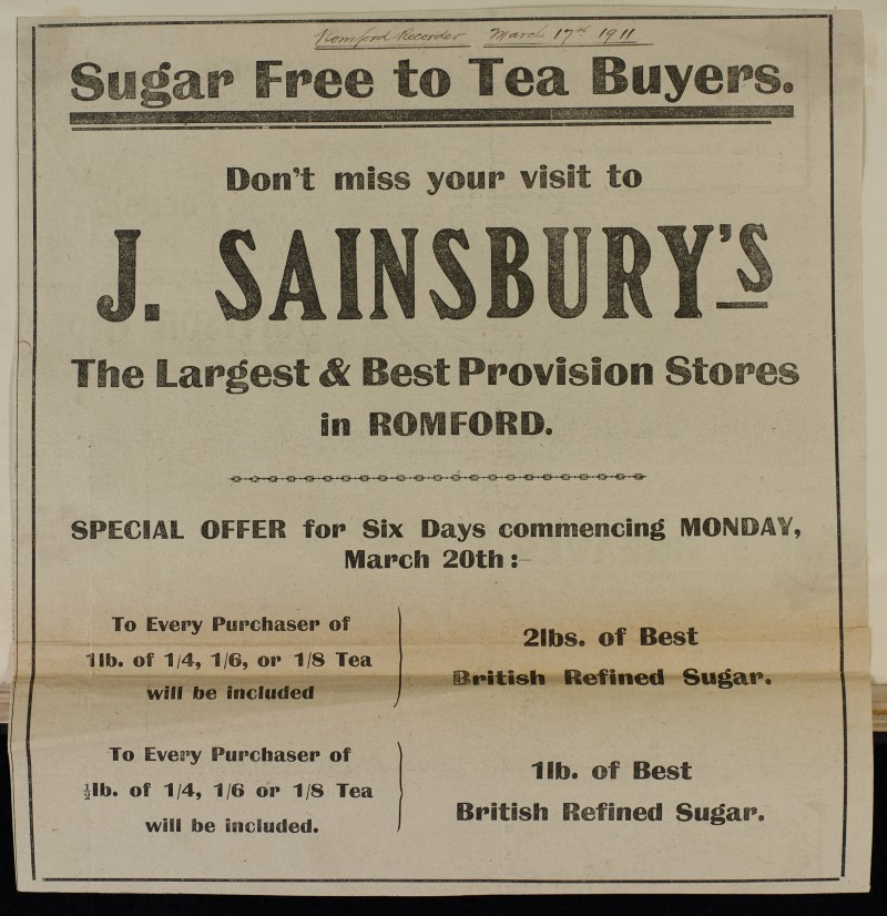 SA/MARK/ADV/1/1/1/1/1/6/1/85 - Newspaper advert offering free sugar to tea buyers, 1911