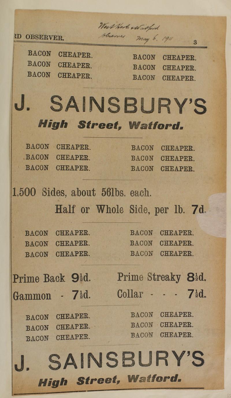 SA/MARK/ADV/1/1/1/1/1/6/1/87 - Newspaper advert for Cheaper Bacon, 1911