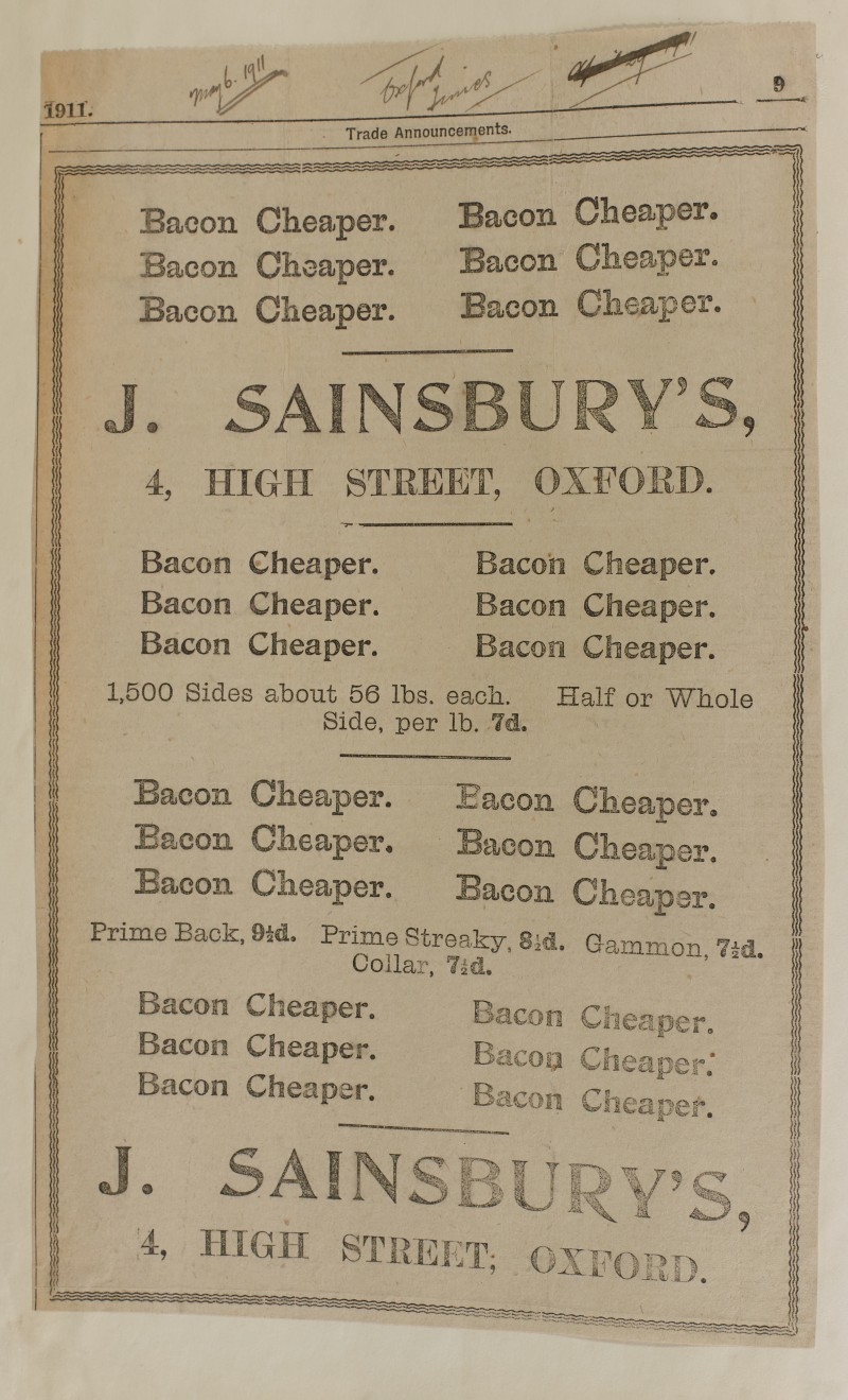 SA/MARK/ADV/1/1/1/1/1/6/1/88 - Newspaper advert from The Oxford Times for cheaper bacon, 1911