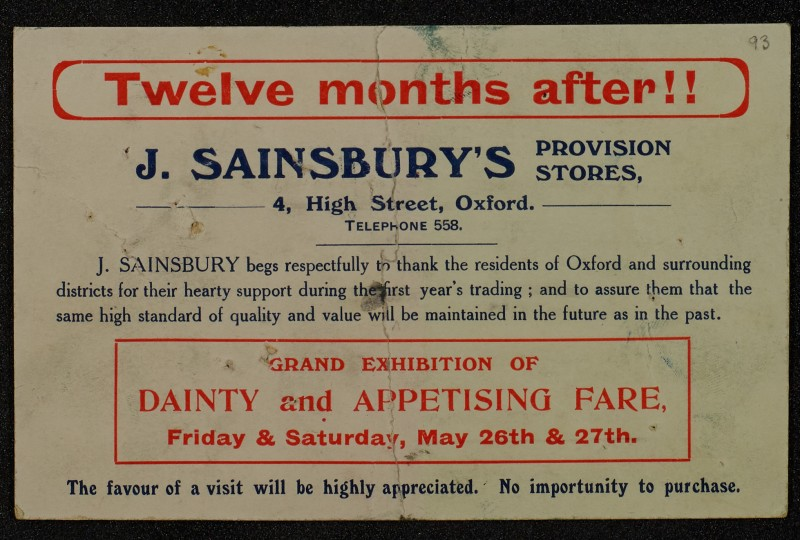 SA/MARK/ADV/1/1/1/1/1/6/1/89 - Card advert for Grand Exhibition of Dainty and Appetising fare, 1911