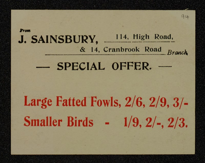 SA/MARK/ADV/1/1/1/1/1/6/1/90 - Advert for 'Special Offer for Fowls and Smaller Birds, Game', 1911