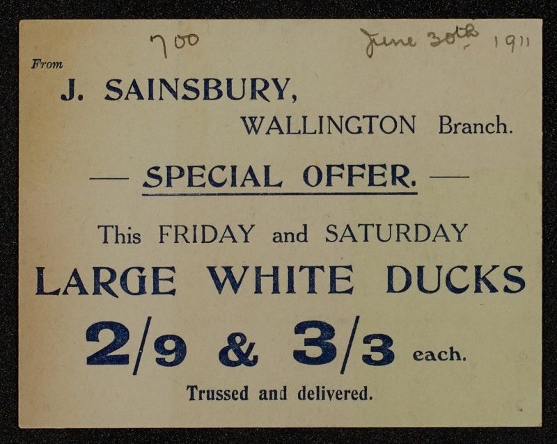 SA/MARK/ADV/1/1/1/1/1/6/1/91 - Card advert for 'Special Offer for Ducks', 1911.