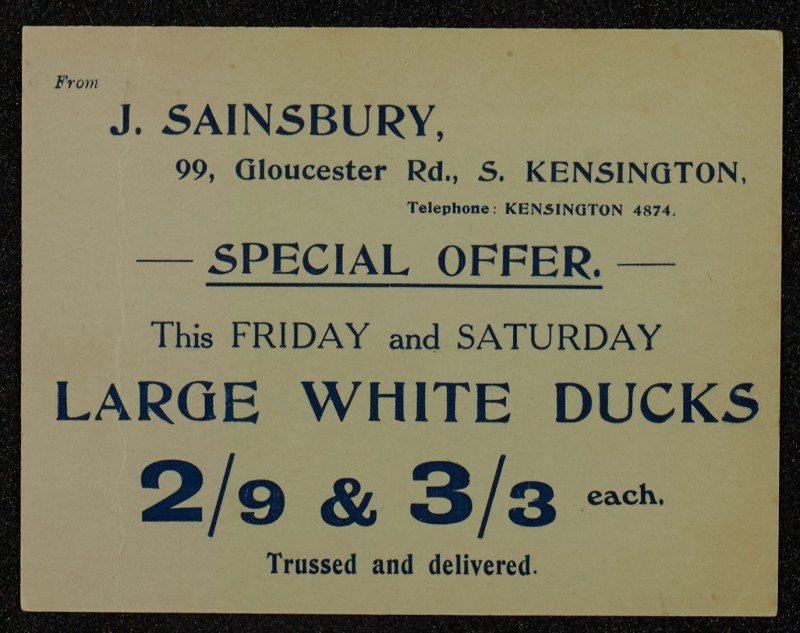 SA/MARK/ADV/1/1/1/1/1/6/1/92 - Card advert 'Special Offer for Ducks',  1911