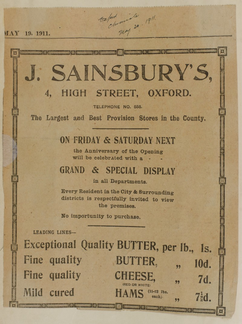 SA/MARK/ADV/1/1/1/1/1/6/1/93 - Newspaper advert for the anniversary of the opening of Oxford Store, 1911