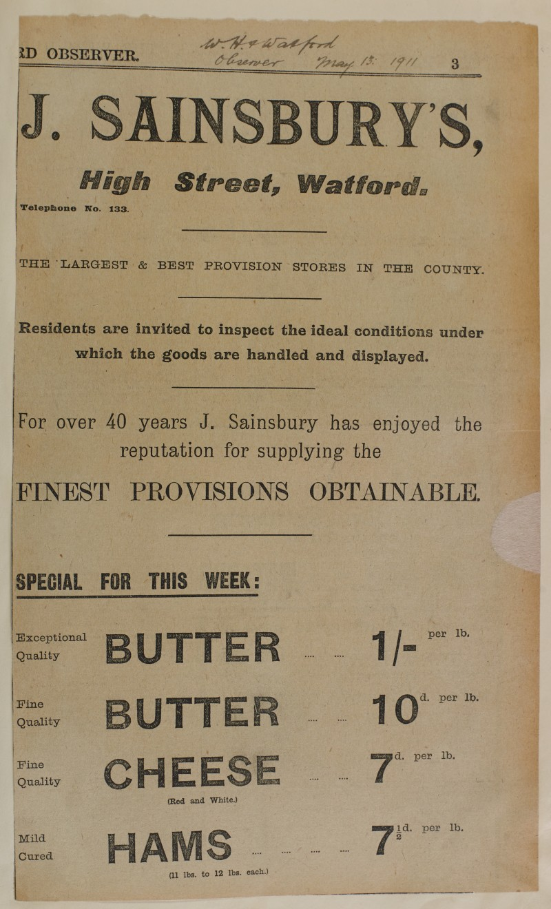 SA/MARK/ADV/1/1/1/1/1/6/1/94 - Newspaper advert for 'this weeks specials of Butter, cheese and ham', 1911