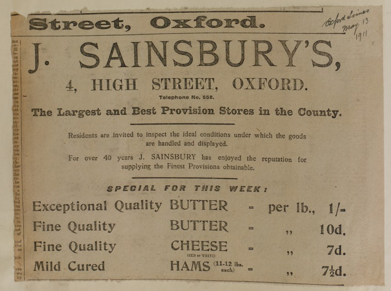 SA/MARK/ADV/1/1/1/1/1/6/1/96 - Newspaper advert for 'this weeks specials of Butter, Chese and Hams', 1911
