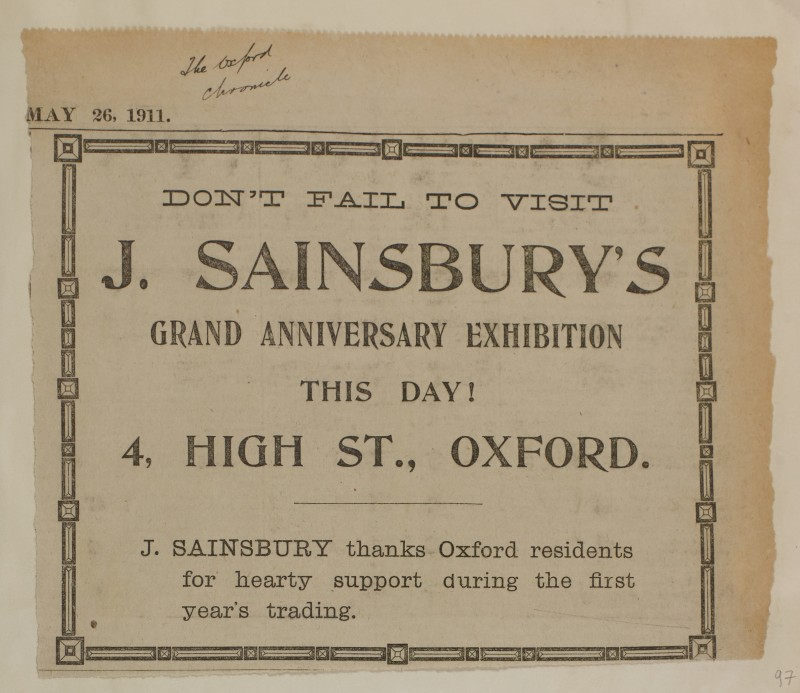 SA/MARK/ADV/1/1/1/1/1/6/1/97 - Newspaper advert 'Grand anniversary exhibition of the Oxford store', 1911