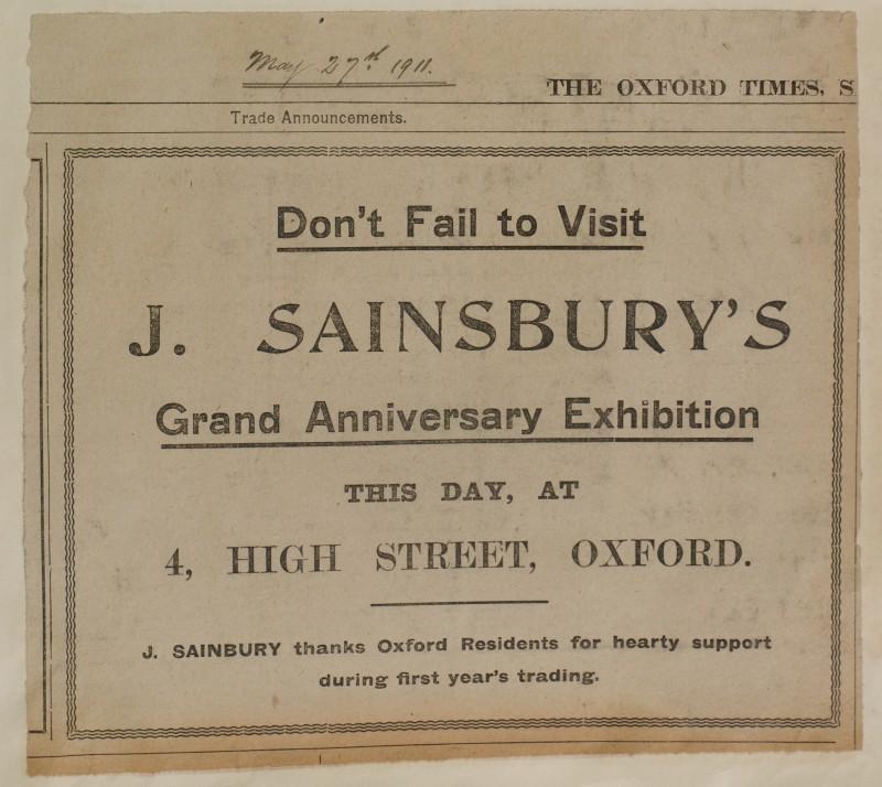 SA/MARK/ADV/1/1/1/1/1/6/1/98 - Newsaper advert trade announcement for Grand Anniversary Exhibition, 1911