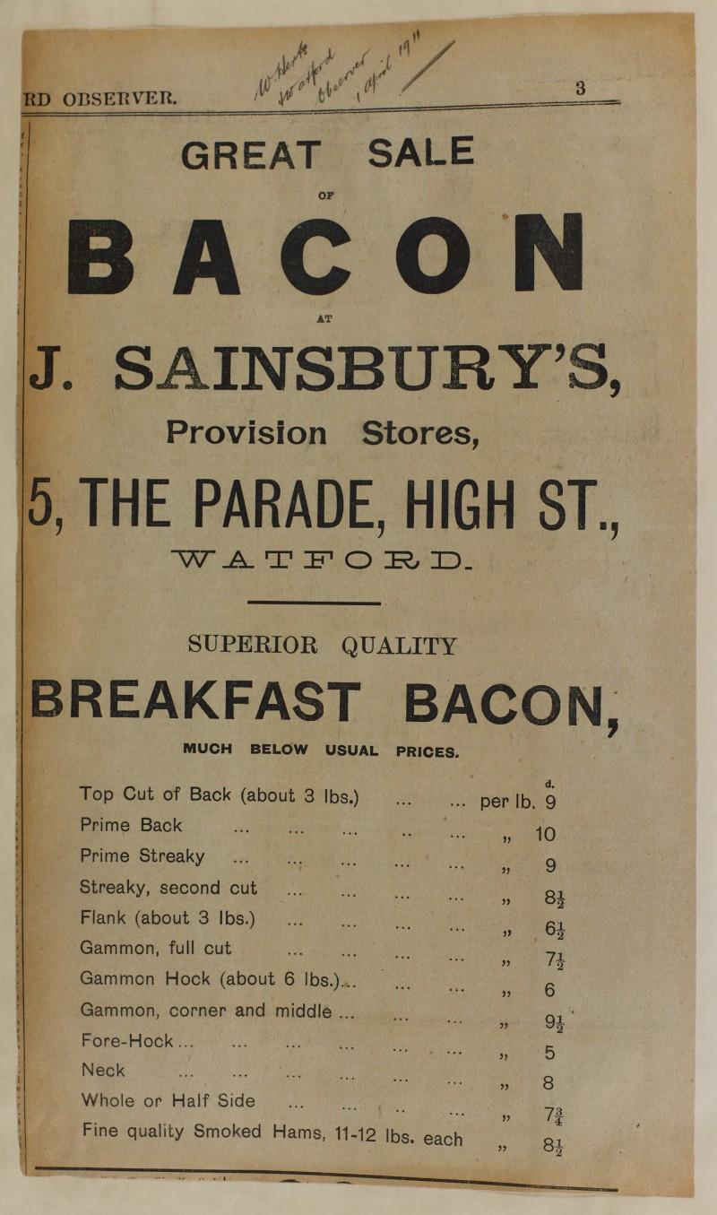 SA/MARK/ADV/1/1/1/1/1/6/1/99 - Newspaper advert 'great sale of bacon, gammon, hams', 1911