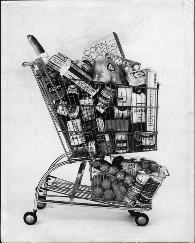 SA/PKC/PAC/8/1/1 - Photograph of a trolley filled with various Sainsbury's own brand products, 1960s