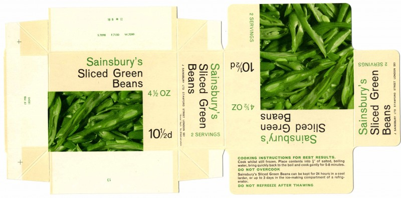 SA/PKC/PRO/1/10/1/33/1 - Sainsbury's frozen sliced green beans packaging, 1960s