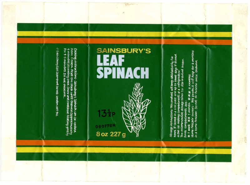 SA/PKC/PRO/1/10/1/40 - Sainsbury's Leaf spinach packaging design