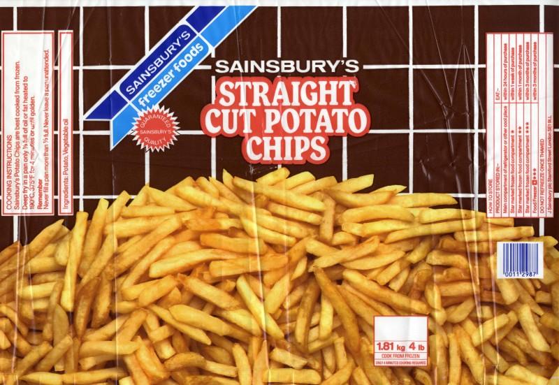 SA/PKC/PRO/1/10/2/2/2/1 - Sainsbury's Straight Cut Potato Chips packaging
