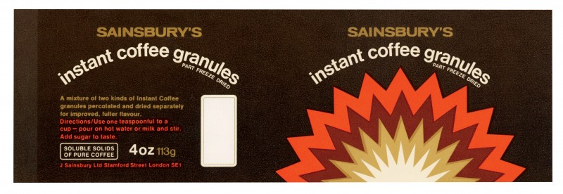 SA/PKC/PRO/1/11/2/1/13/1 - Sainsbury's Instant Coffee Granules 4oz 113g label, [1973]