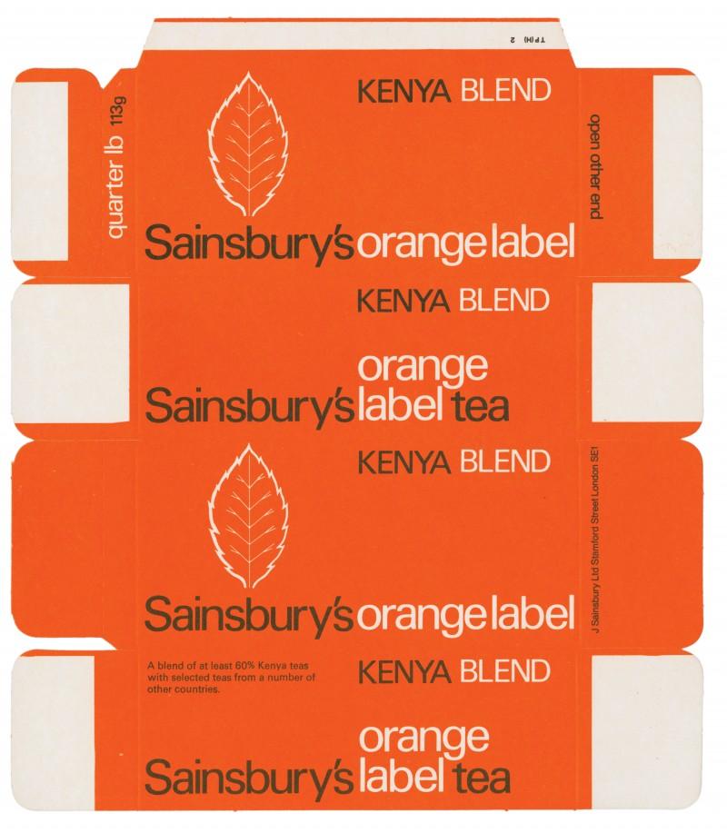 SA/PKC/PRO/1/11/2/3/13/1 - Sainsbury's Orange Label Tea Kenya Blend quarter lb 113g packet, 1960s-1970s
