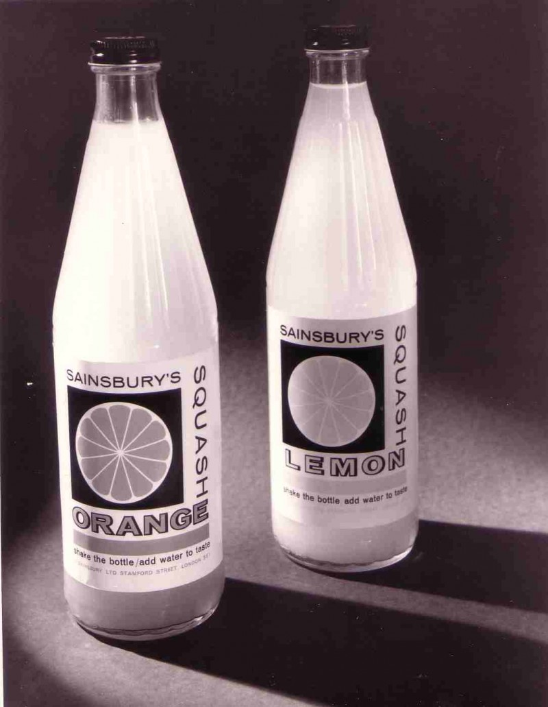 SA/PKC/PRO/1/11/4/2/2/14 - Photograph of bottles of Sainsbury's Orange Squash and Sainsbury's Lemon Squash