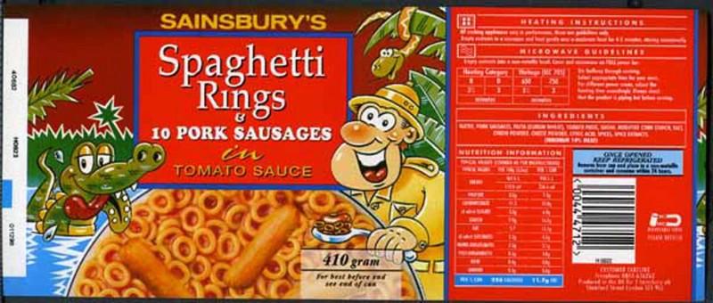 SA/PKC/PRO/1/12/2/1/29/1 - Sainsbury's Spaghetti Rings & 10 Pork Sausages in Tomato Sauce label