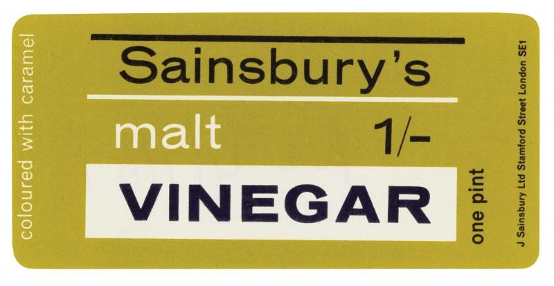 SA/PKC/PRO/1/14/2/1/1/1 - Sainsbury's Malt Vinegar one pint label, 1967
