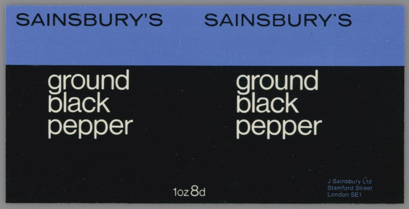 SA/PKC/PRO/1/14/2/1/3/1 - Sainsbury's Ground Black Pepper 1oz label, 1960s
