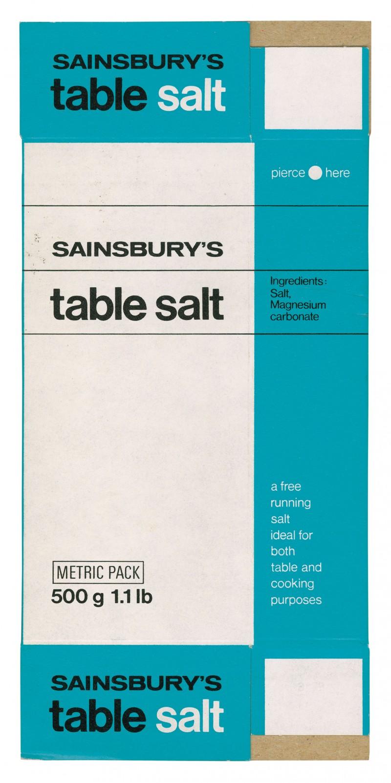 SA/PKC/PRO/1/14/2/1/4/1 - Sainsbury's Table Salt 500g 1.1lb packet, c. 1978
