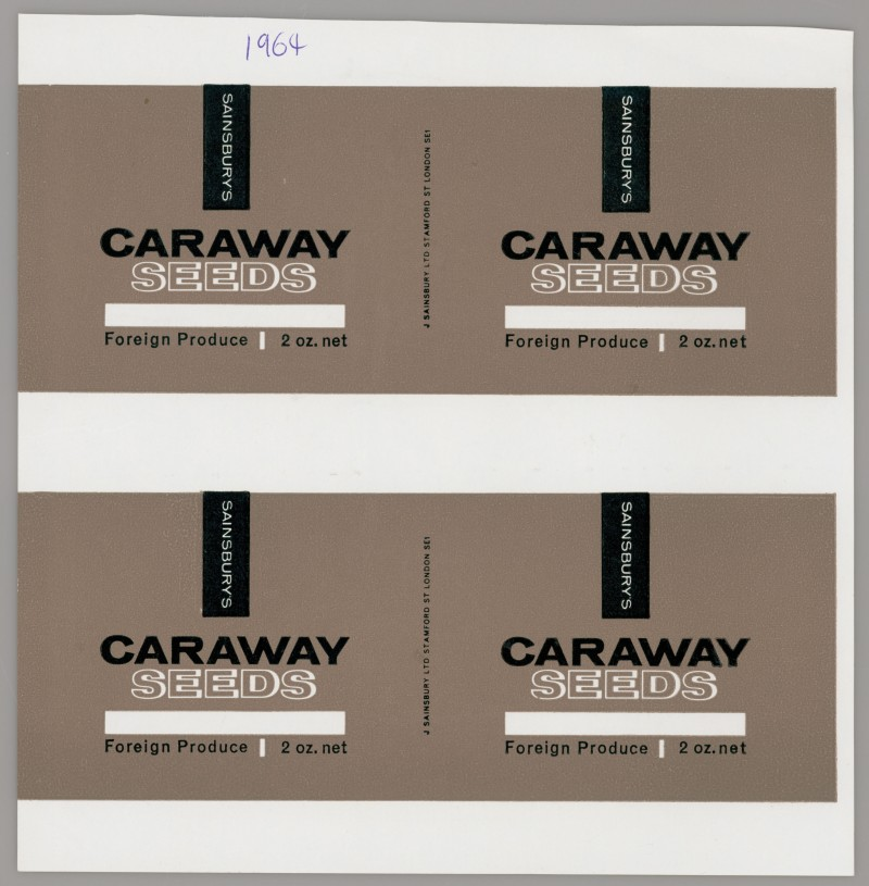 SA/PKC/PRO/1/14/2/2/15/1 - Sainsbury's Caraway Seeds proof of labels, 1964