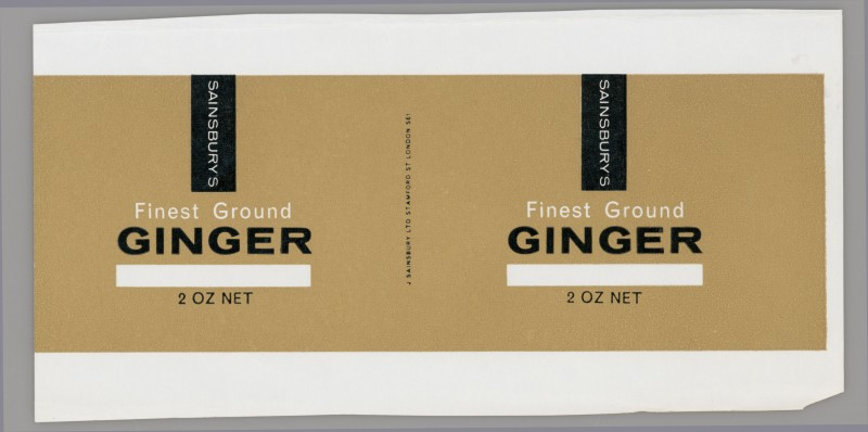 SA/PKC/PRO/1/14/2/2/24/1 - Sainsbury's Finest Ground Ginger 2 oz label, 1965