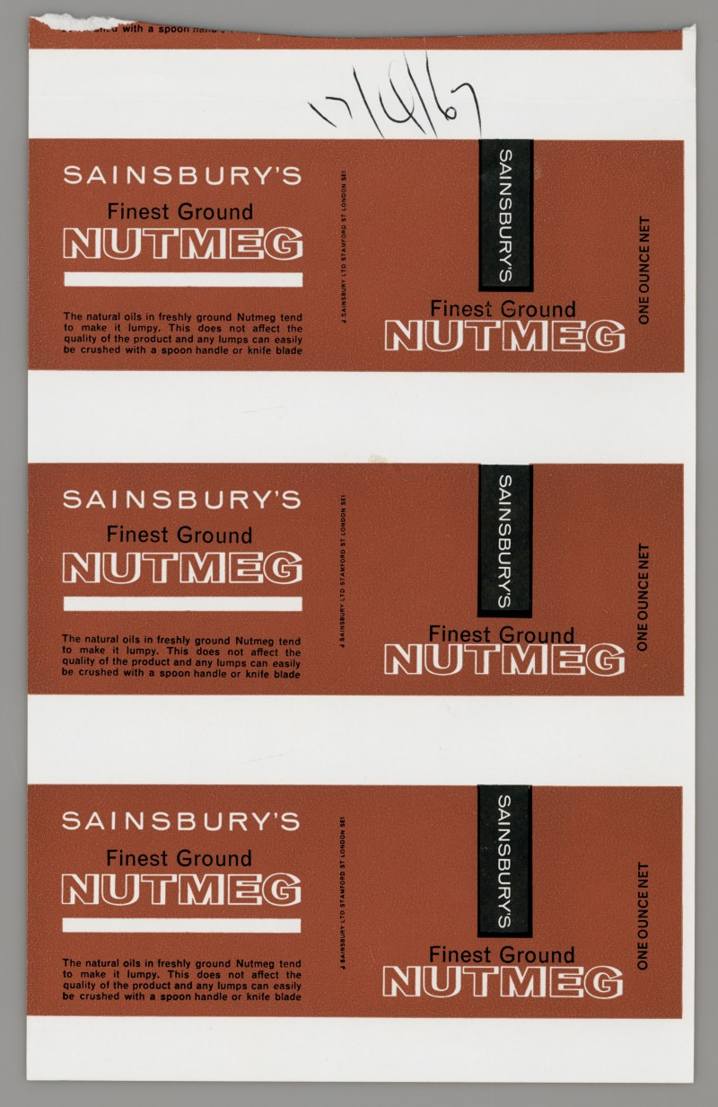 SA/PKC/PRO/1/14/2/2/27/1 - Sainsbury's Finest Ground Nutmeg one ounce proof of labels, 1967
