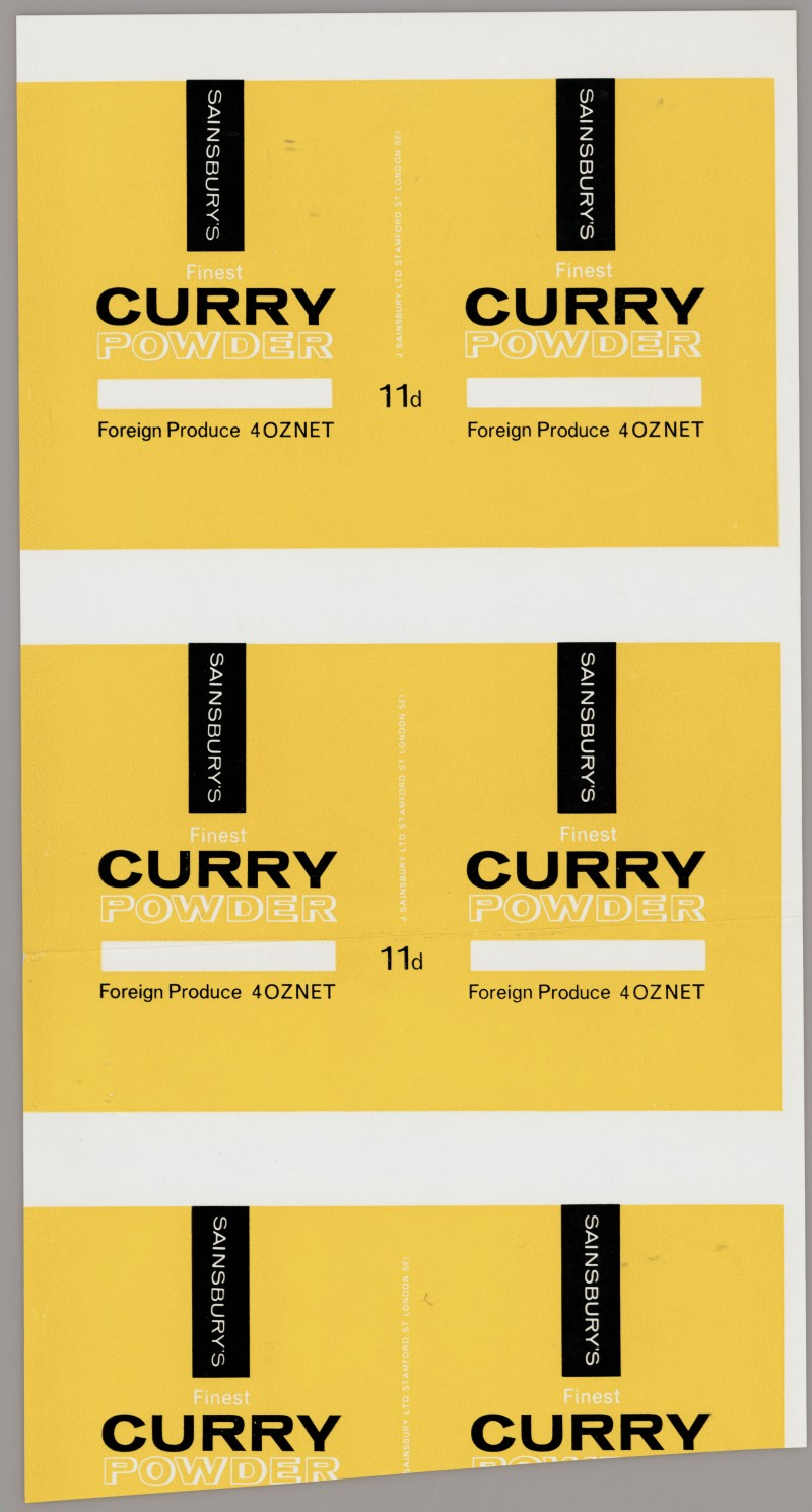 SA/PKC/PRO/1/14/2/2/46/1 - Sainsbury's Finest Curry Powder 4oz proof of label, 1967