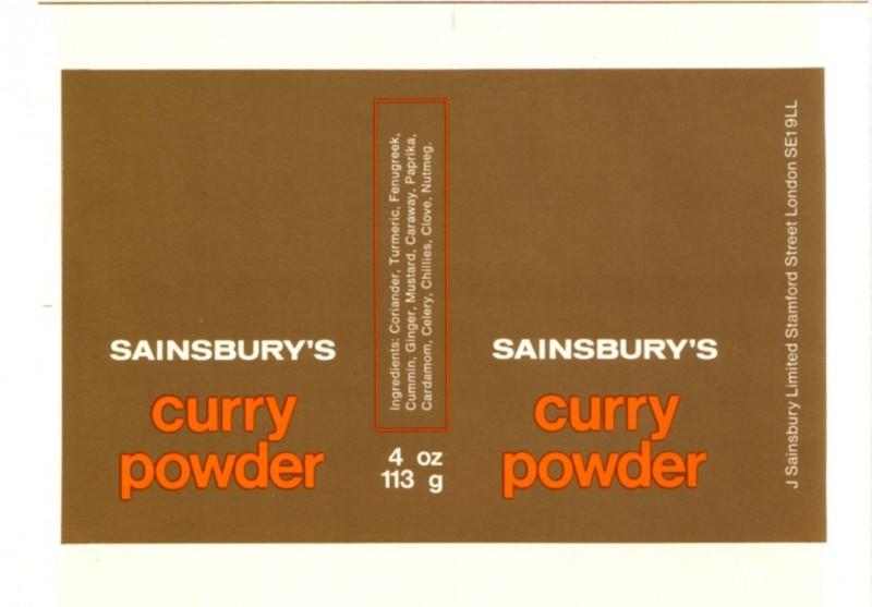 SA/PKC/PRO/1/14/2/2/47/1 - Sainsbury's Curry Powder 4oz 113g page of label proofs, 1970s